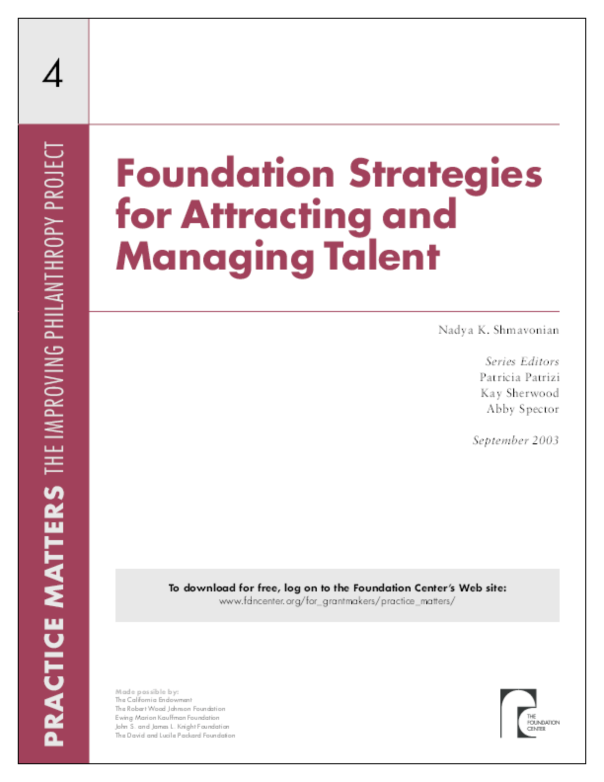 Foundation Strategies for Attracting and Managing Talent