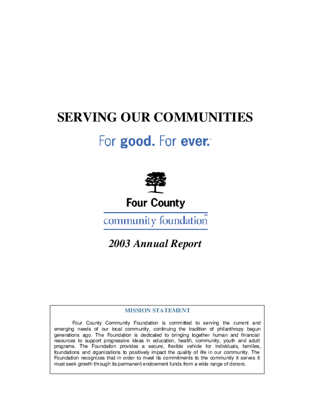 Four County Community Foundation - 2003 Annual Report