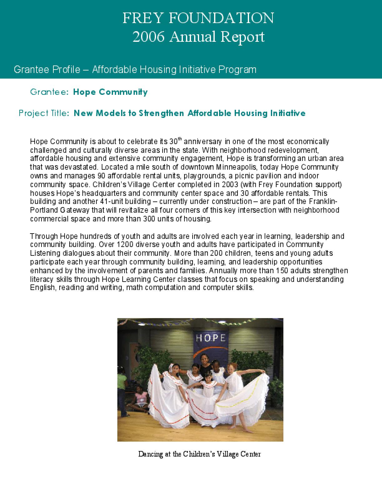 Frey Foundation - 2006 Annual Report