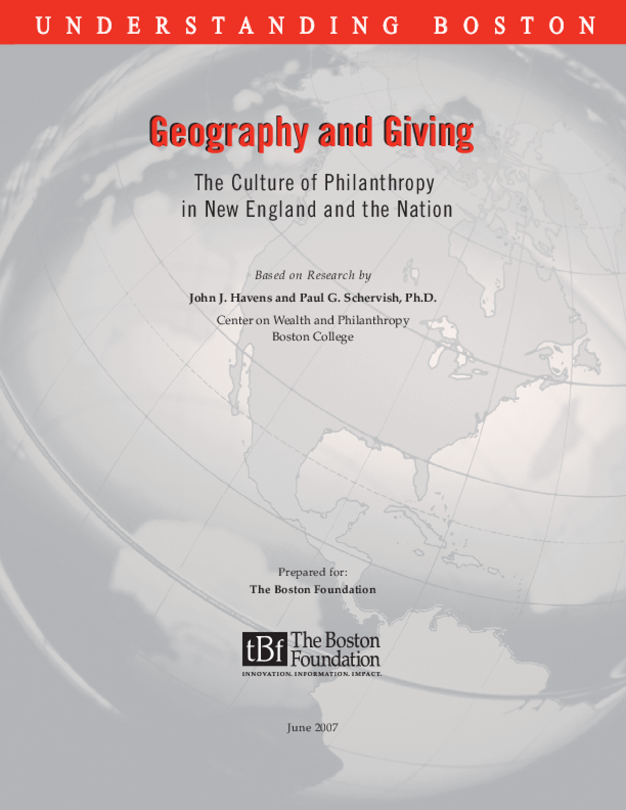 Geography and Giving: The Culture of Philanthropy in New England and the Nation