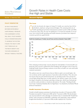 Growth Rates in Health Care Costs Are High and Stable