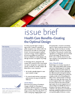 Health Care Benefits -- Creating the Optimal Design