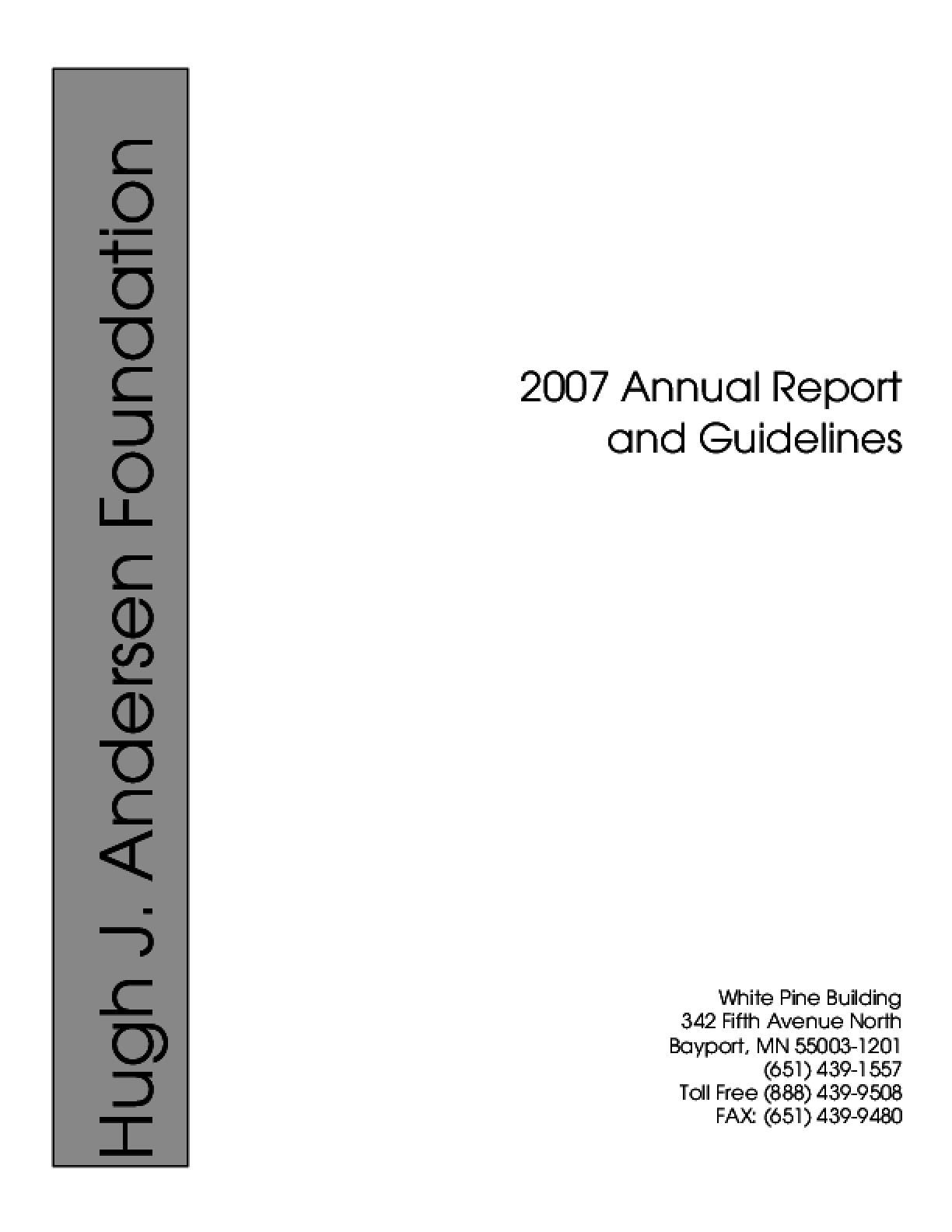 Hugh J. Andersen Foundation - 2007 Annual Report