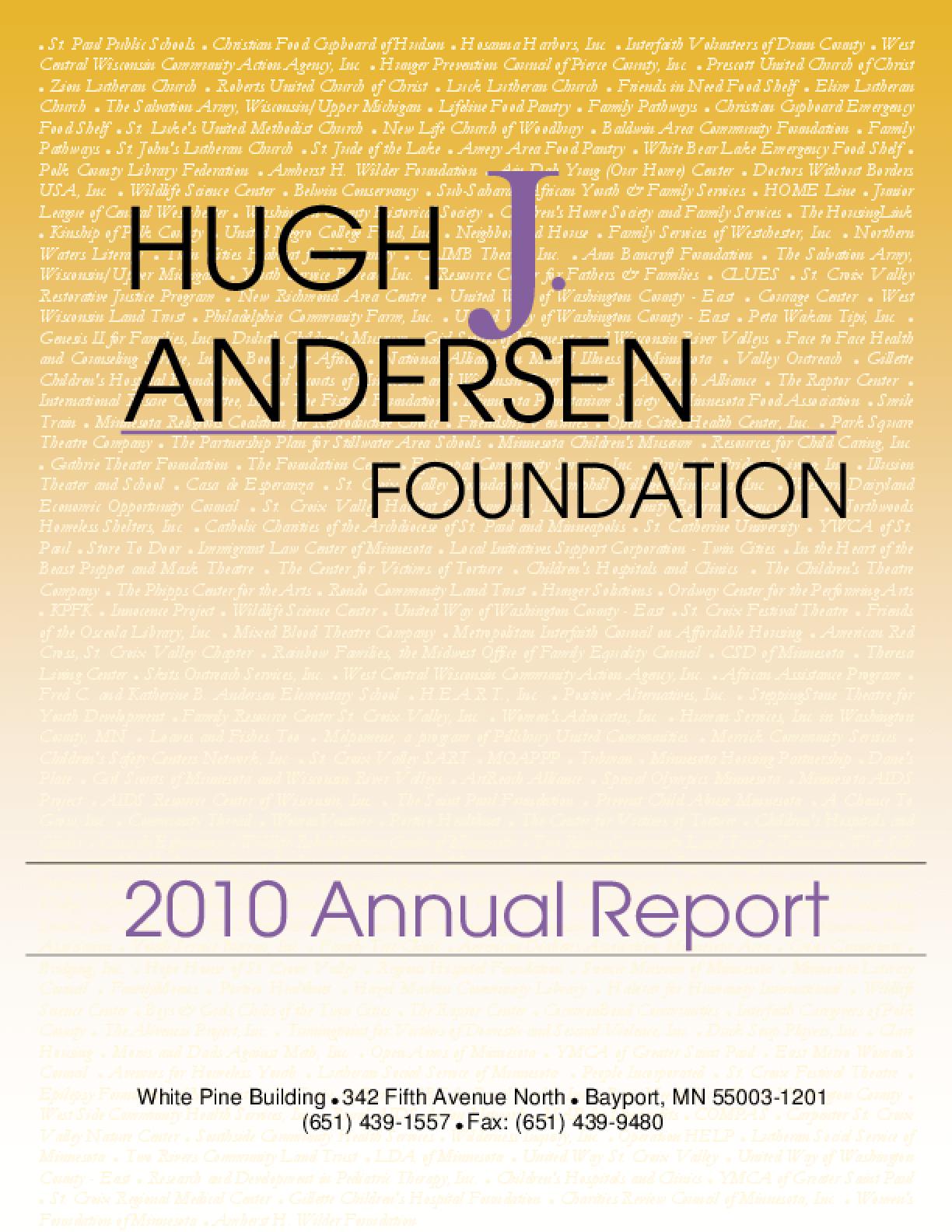Hugh J. Andersen Foundation - 2010 Annual Report