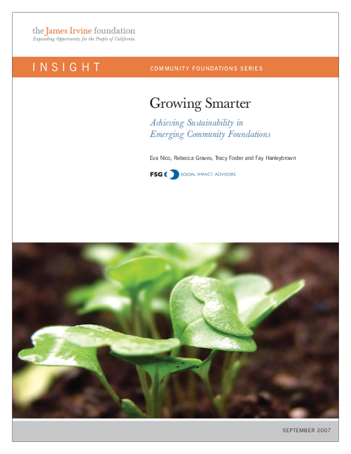 Growing Smarter: Achieving Sustainability in Emerging Community Foundations