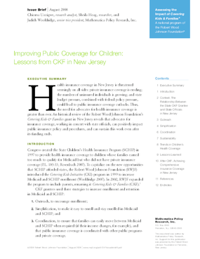 Improving Public Coverage for Children: Lessons From CKF in New Jersey