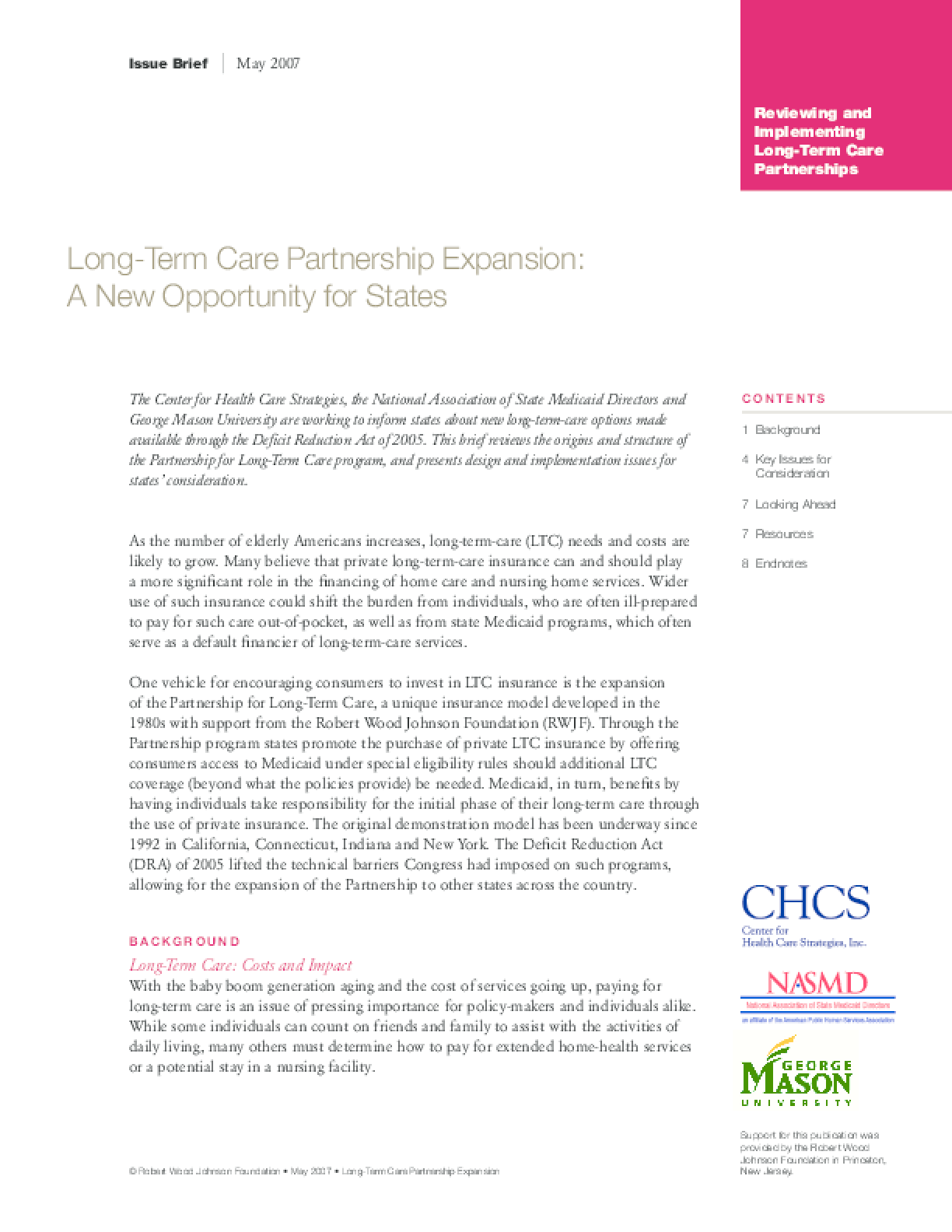 Long-Term Care Partnership Expansion: A New Opportunity for States