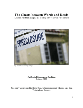 The Chasm Between Words and Deeds: Lenders Not Modifying Loans as They Say to Avoid Foreclosures