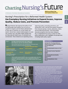 Nursing's Prescription for a Reformed Health System: Use Exemplary Nursing Initiatives to Expand Access, Improve Quality, Reduce Costs, and Promote Prevention
