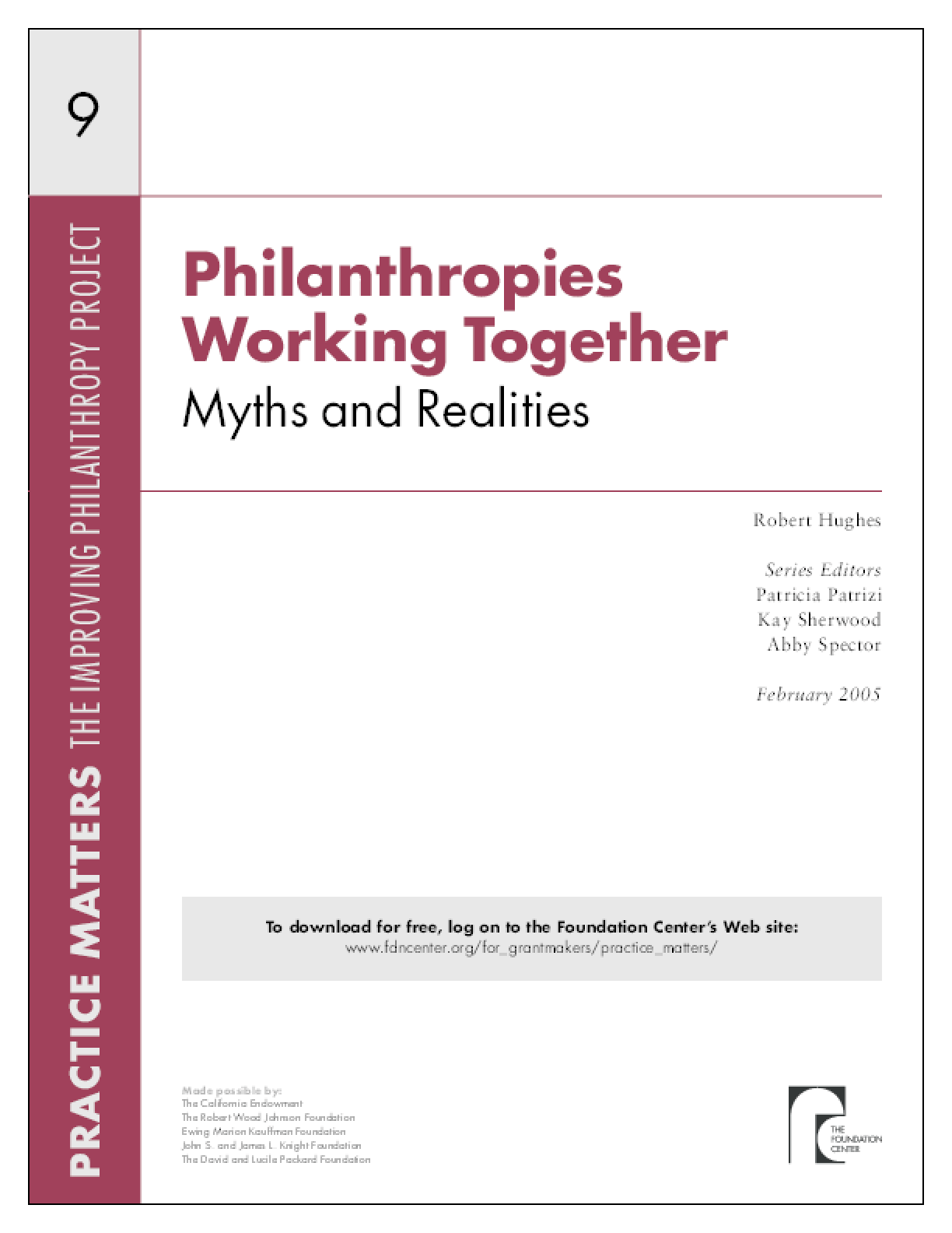 Philanthropies Working Together: Myths and Realities