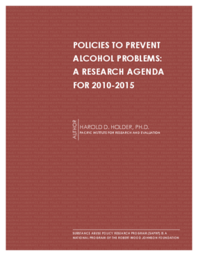Policies to Prevent Alcohol Problems: A Research Agenda for 2010-2015