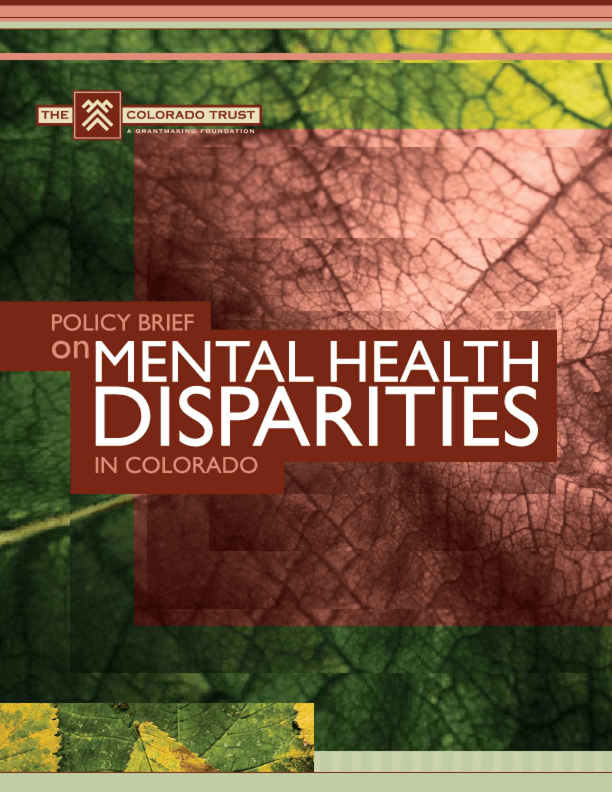 Policy Brief on Mental Health Disparities in Colorado