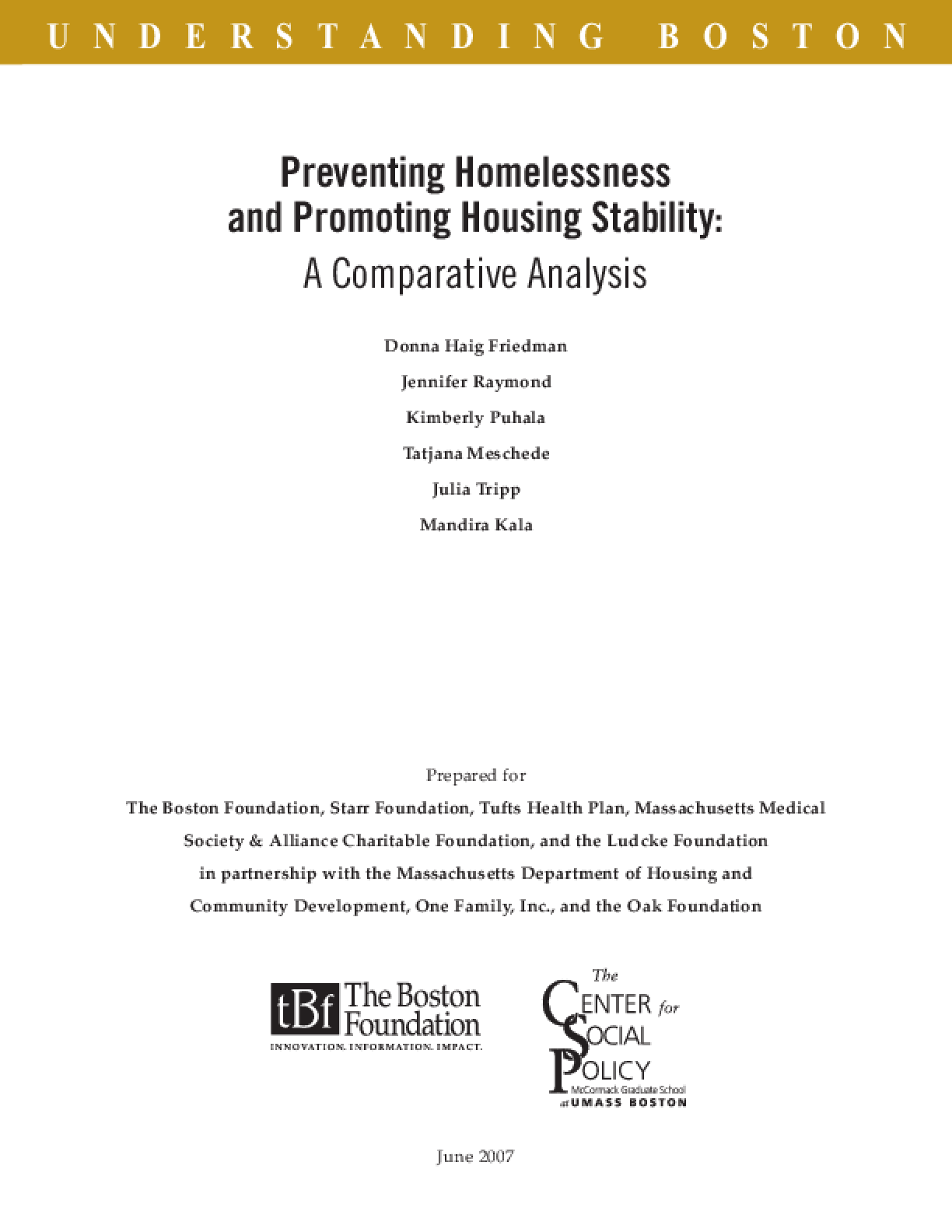 Preventing Homelessness and Promoting Housing Stability: A Comparative Analysis