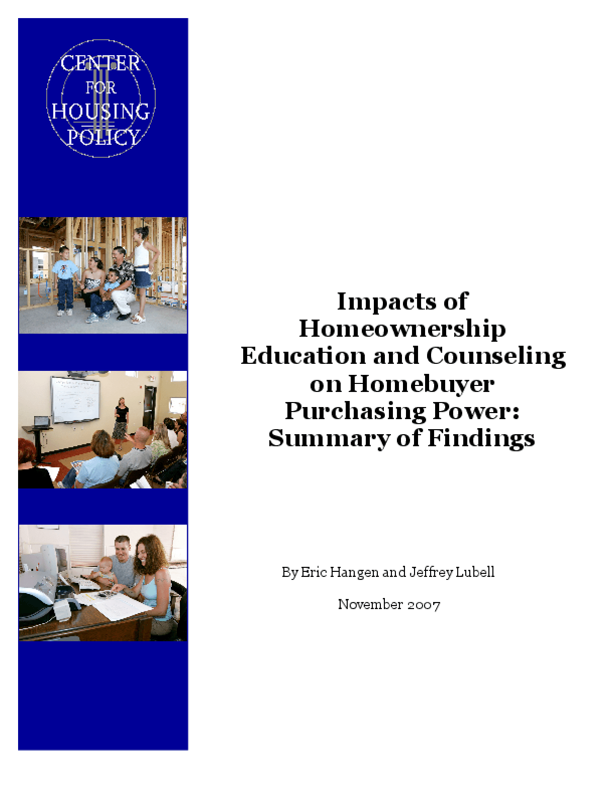 Impacts of Homeownership Education and Counseling on Homebuyer Purchasing Power: Summary of Findings