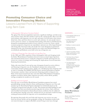 Promoting Consumer Choice and Innovative Financing Models: Lessons Learned From 25 Years of Supporting Long-Term Care
