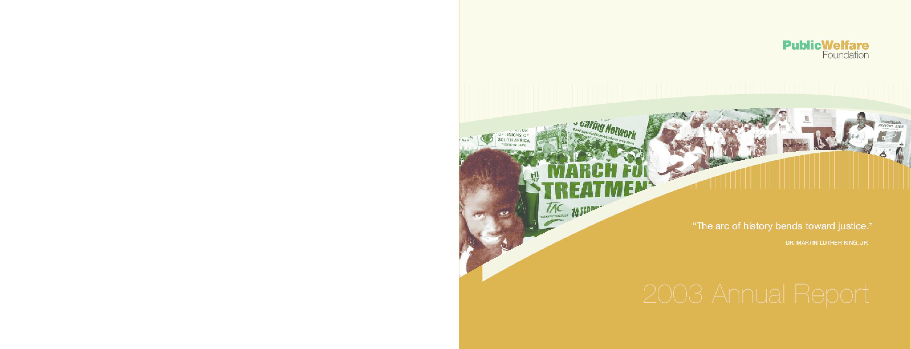 Public Welfare Foundation - 2003 Annual Report