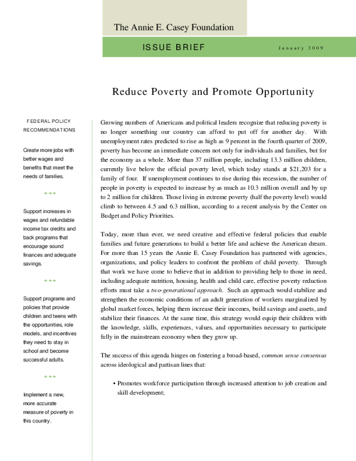 Reduce Poverty and Promote Opportunity