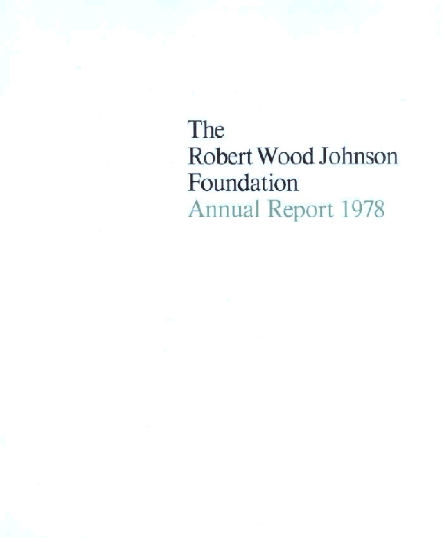 Robert Wood Johnson Foundation - 1978 Annual Report