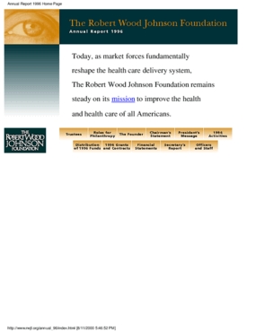 Robert Wood Johnson Foundation - 1996 Annual Report: Roles for Philanthropy