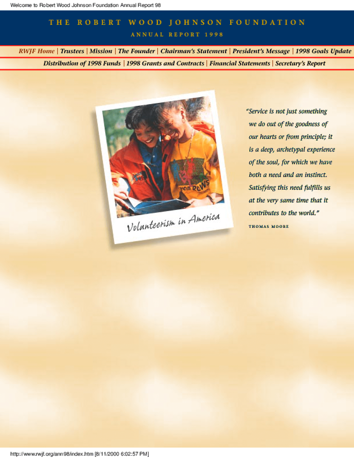 Robert Wood Johnson Foundation - 1998 Annual Report: Volunteerism in America