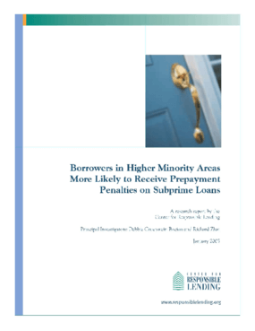 Borrowers in Higher Minority Areas More Likely to Receive Prepayment Penalties on Subprime Loans