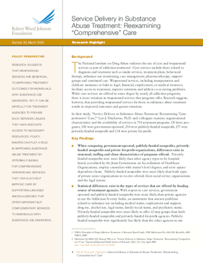 "Service Delivery in Substance Abuse Treatment: Reexamining ""Comprehensive"" Care"