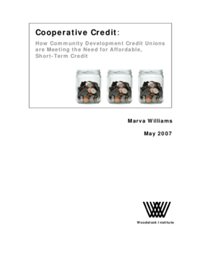 Cooperative Credit: How Community Development Credit Unions are Meeting the Need for Affordable, Short Term Credit