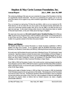 Stephen & May Cavin Leeman Foundation, Inc. - 2009 Annual Report