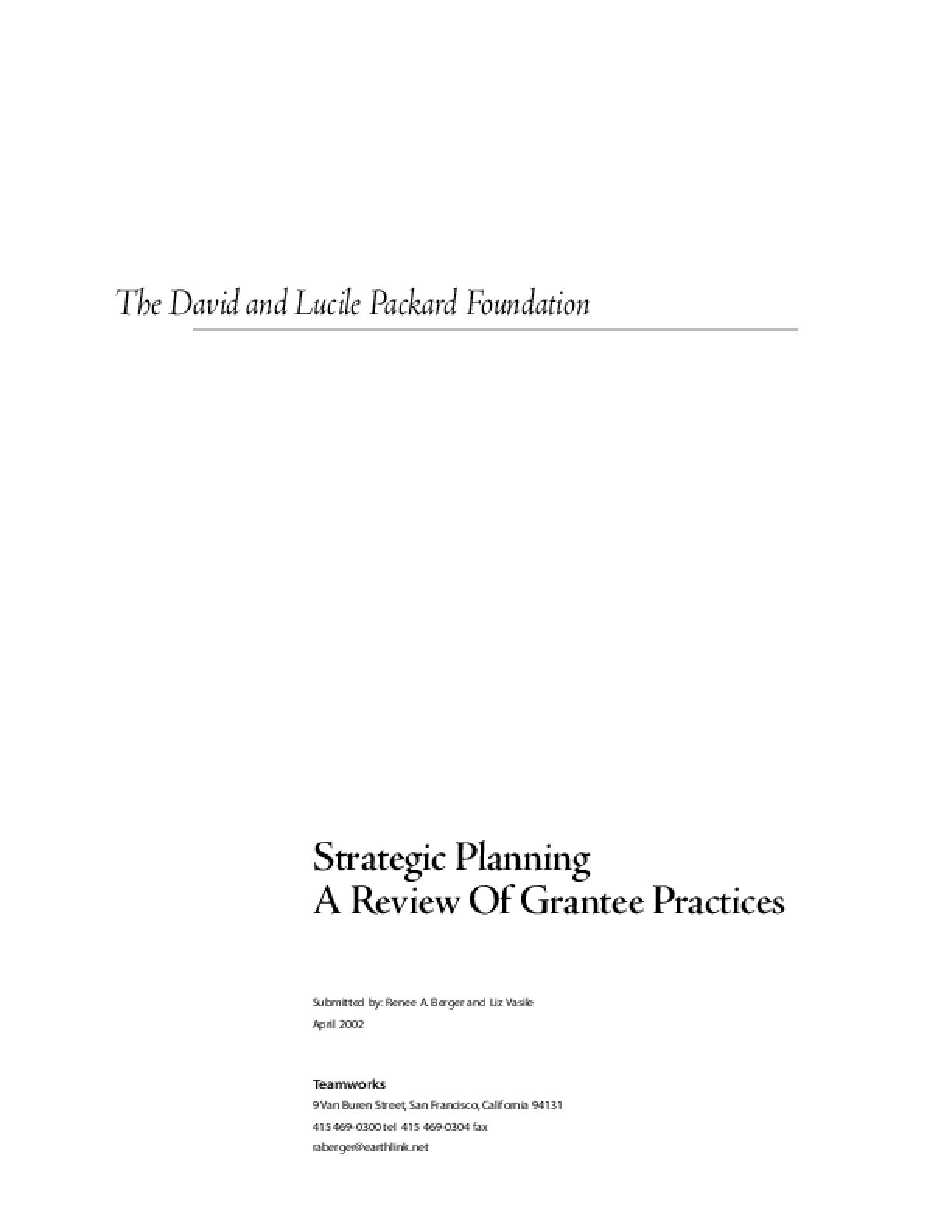 Strategic Planning: A Review of Grantee Practices