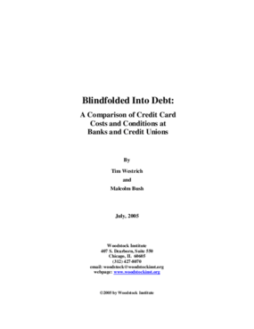 Blindfolded Into Debt: A Comparison of Credit Card Costs and Conditions at Banks and Credit Unions