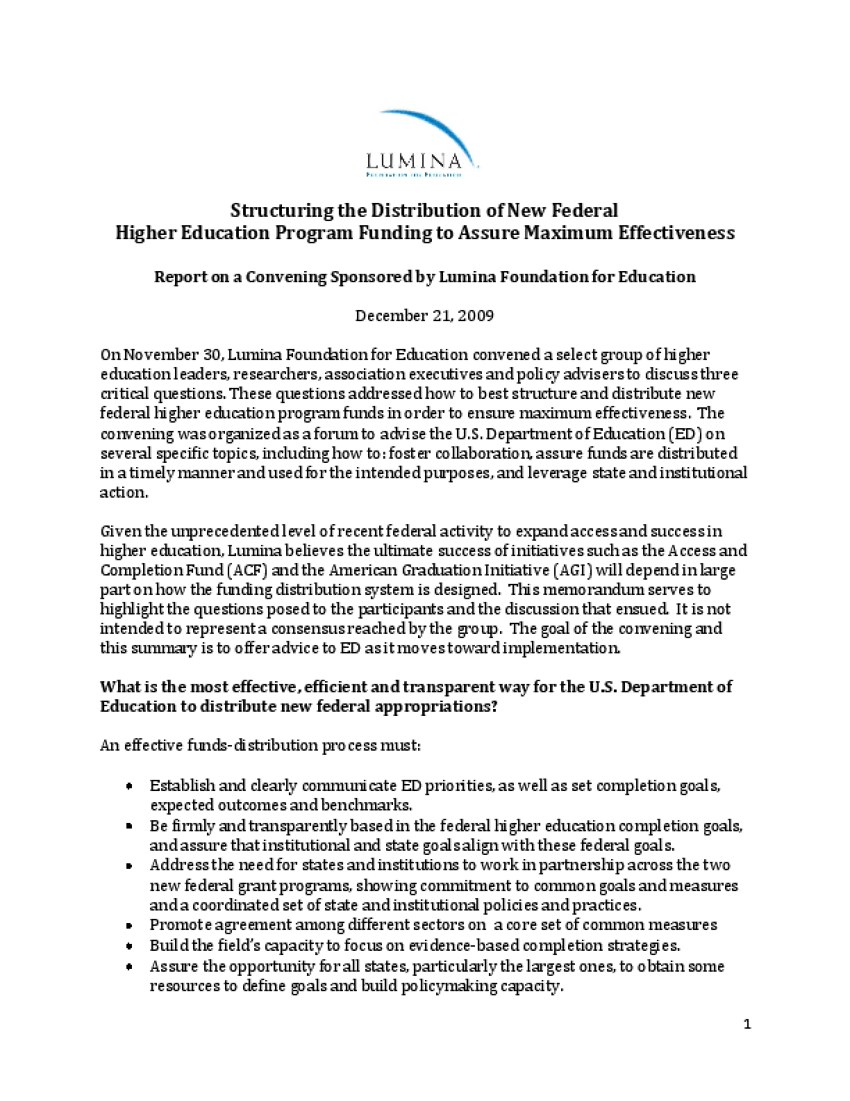Structuring the Distribution of New Federal Higher Education Program Funding to Assure Maximum Effectiveness