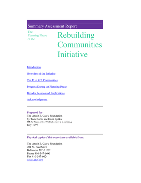 Summary Assessment Report: The Planning Phase of the Rebuilding Communities Initiative