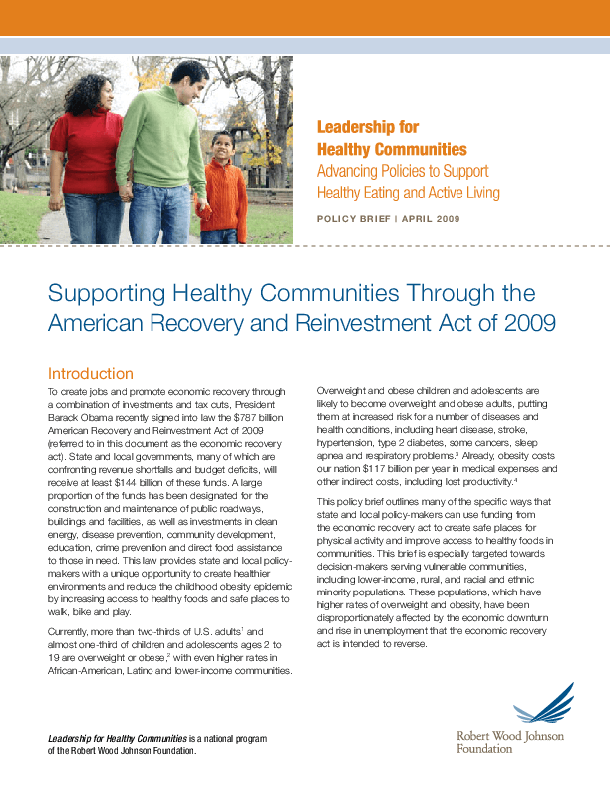 Supporting Healthy Communities Through the American Recovery and Reinvestment Act of 2009