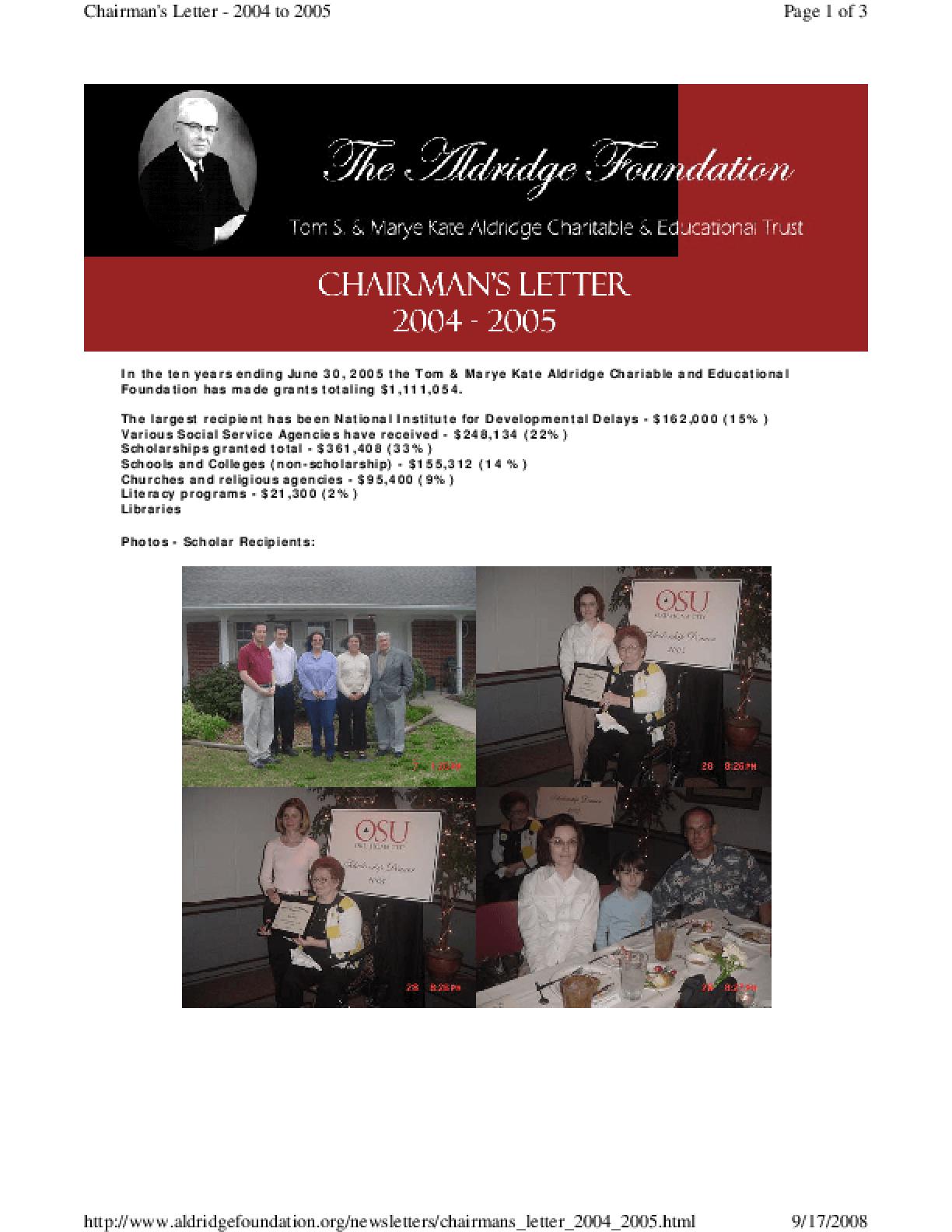 Tom S. and Marye Kate Aldridge Charitable & Educational Trust - 2004-2005 Annual Report