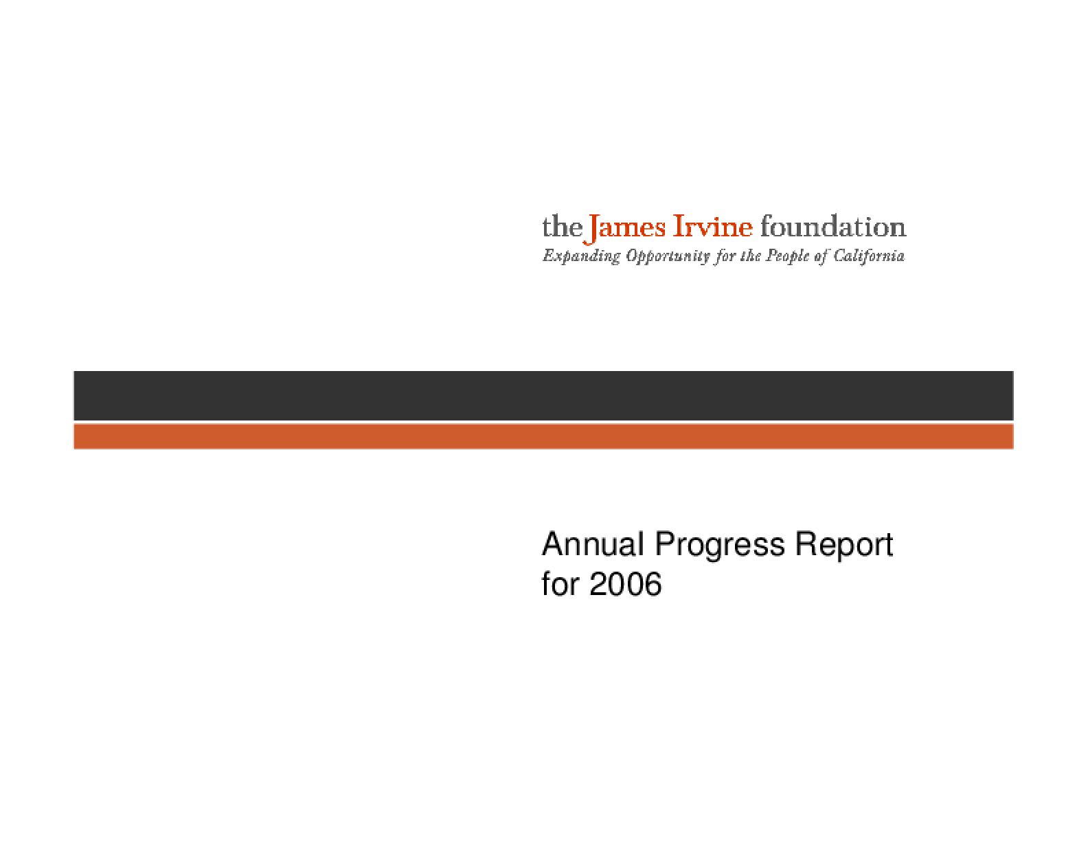 Annual Progress Report for 2006