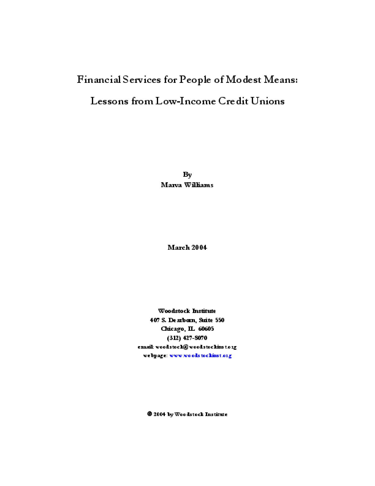 Financial Services for People of Modest Means: Lessons from Low-Income Credit Unions