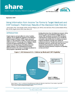 Using Information From Income Tax Forms to Target Medicaid and CHIP Outreach: Preliminary Results of the Maryland Kids First Act