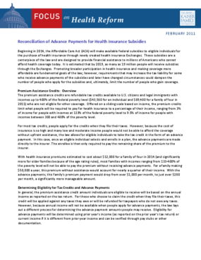 Reconciliation of Advance Payments for Health Insurance Subsidies