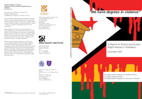 """We Have Degrees in Violence"": A Report on Torture and Human Rights Abuses in Zimbabwe"