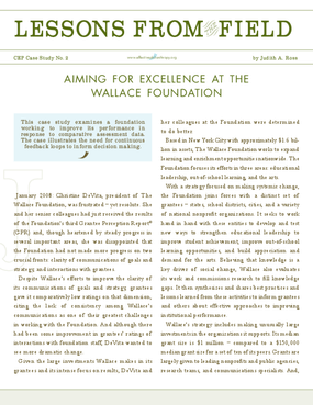 Aiming for Excellence at the Wallace Foundation