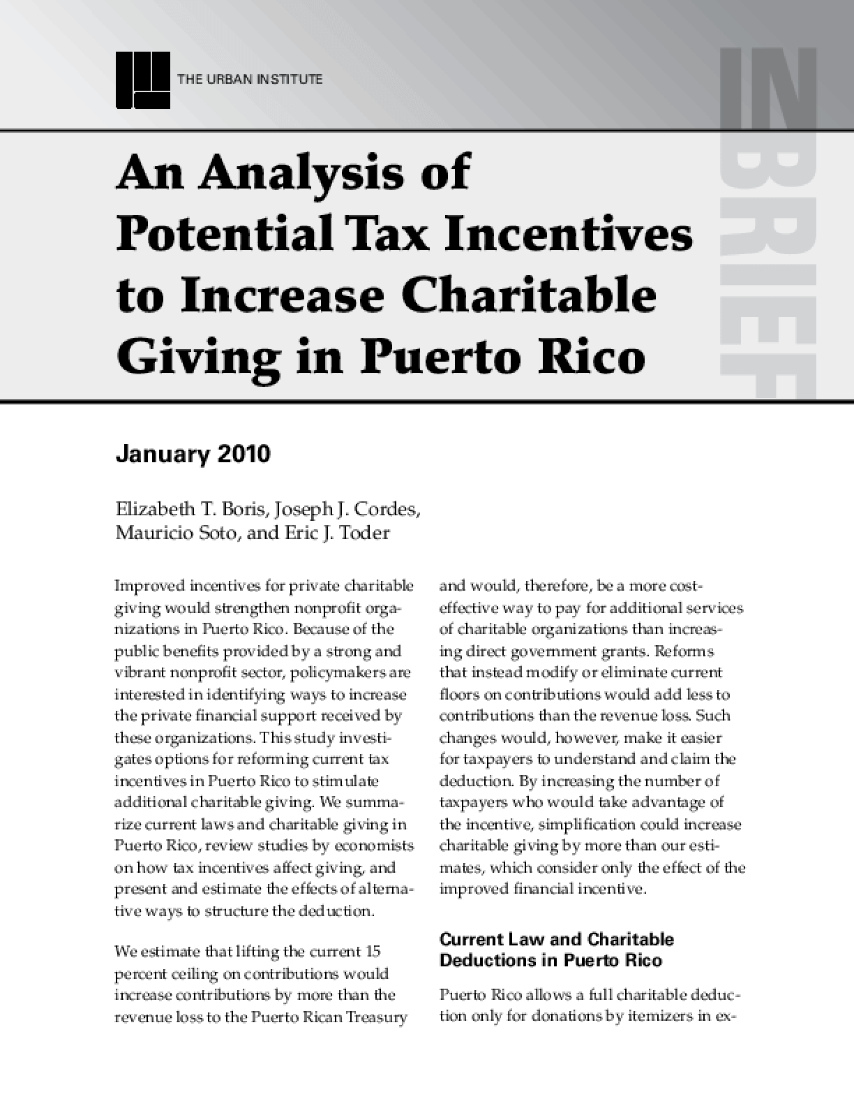 An Analysis of Potential Tax Incentives to Increase Charitable Giving in Puerto Rico