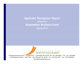 Applicant Perception Report 2010: Rockefeller Brothers Fund