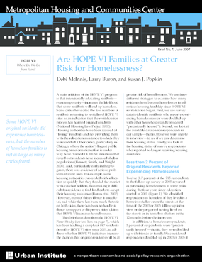 Are HOPE VI Families at Greater Risk for Homelessness?