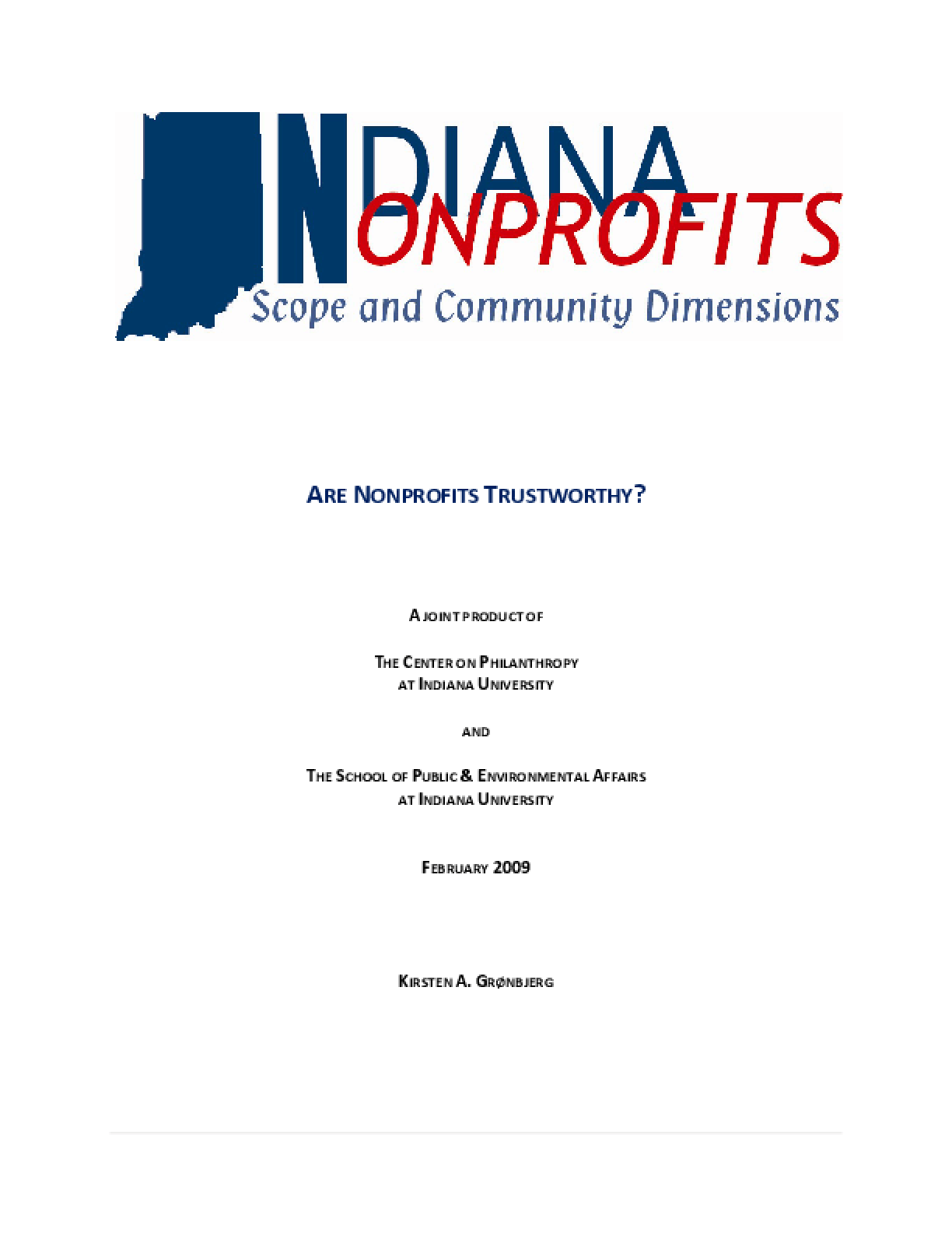 Are Nonprofits Trustworthy?