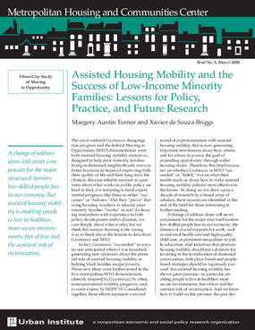 Assisted Housing Mobility and the Success of Low-Income Minority Families: Lessons for Policy, Practice, and Future Research