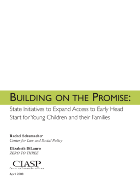 Building on the Promise: State Initiatives to Expand Access to Early Head Start for Young Children and Their Families