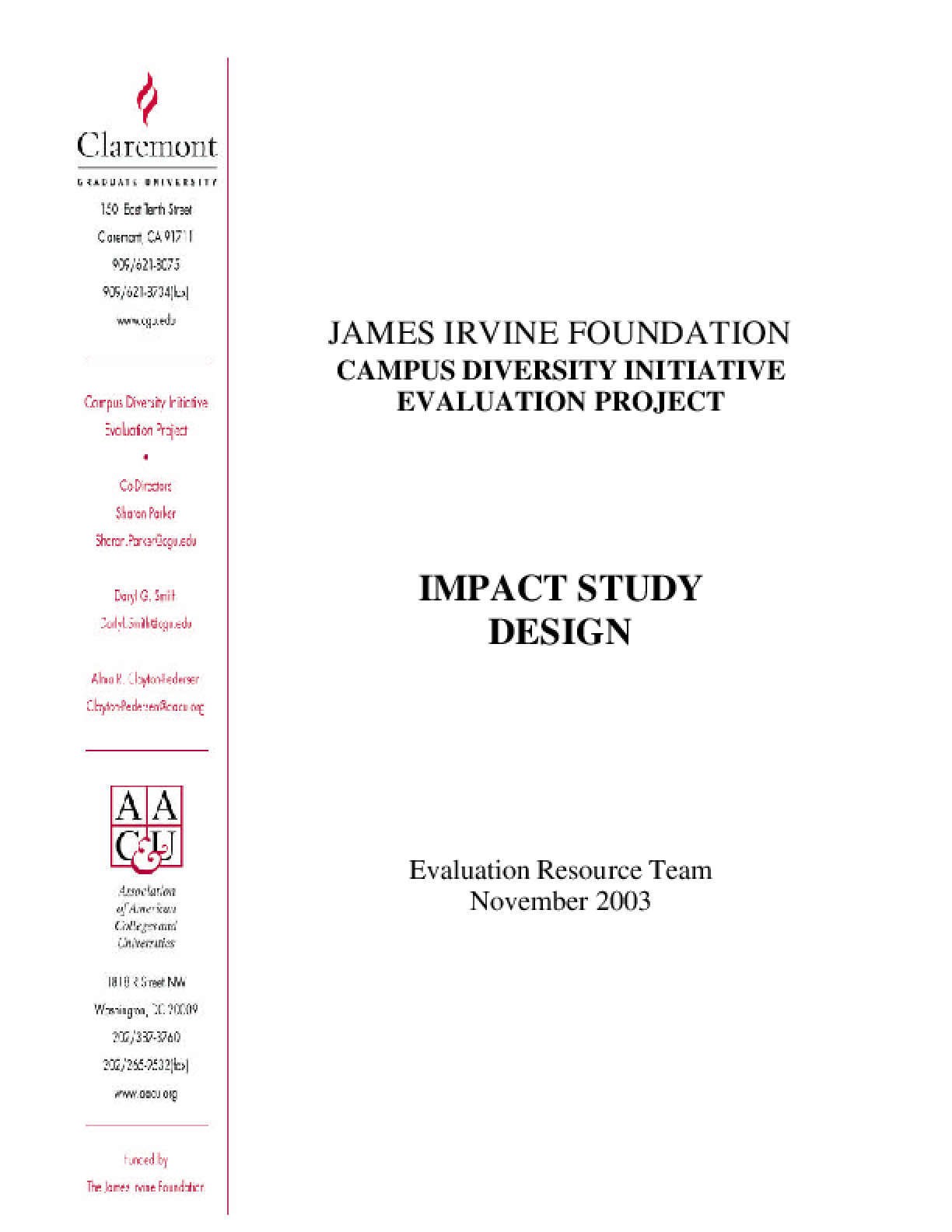 The Campus Diversity Initiative: Impact Study