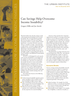 Can Savings Help Overcome Income Instability?