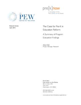 The Case for Pre-K in Education Reform: A Summary of Program Evaluation Findings