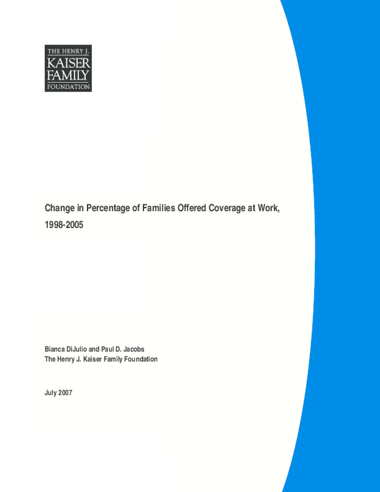 Change in Percentage of Families Offered Coverage at Work, 1998-2005